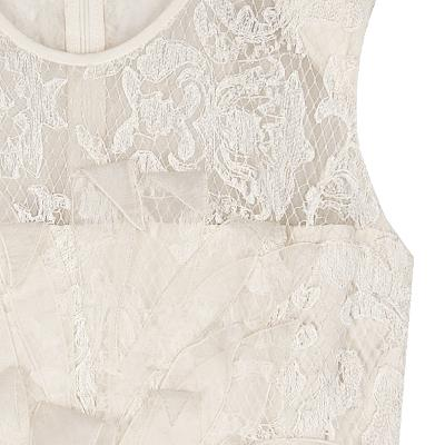 chiffon plume lace dress ivory